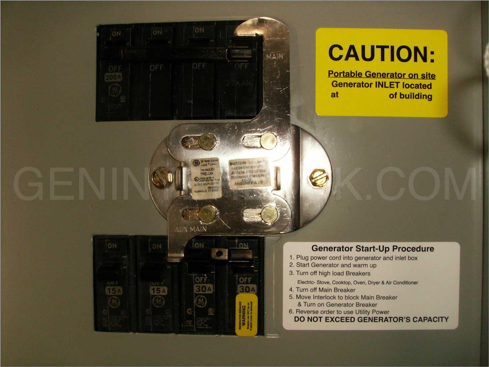 Factory Model General Electric Generator Interlock Kit Ge