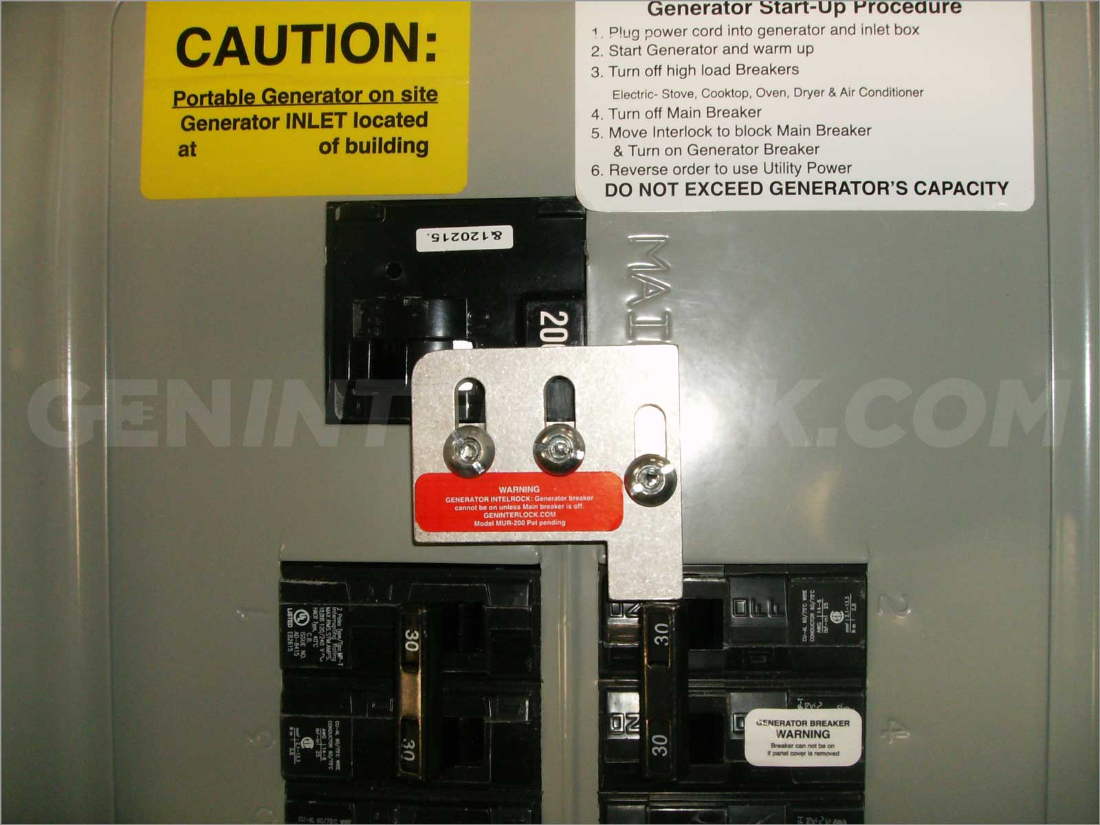 Siemens  Murray Generator interlock kit 200 Amp Panel