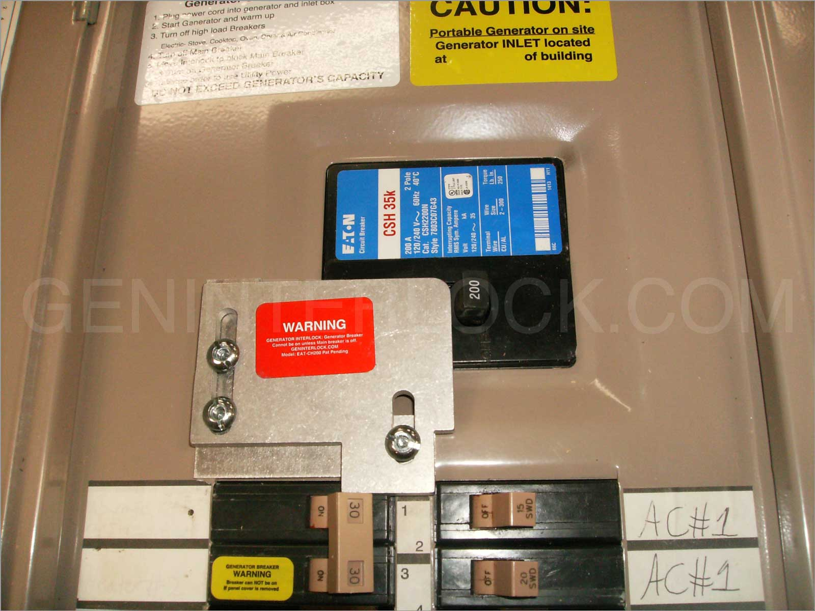 Generator Interlock Kit Eaton Cutler Hammer 150 To 200   Ch Transfer Switch on generator transfer switch kit